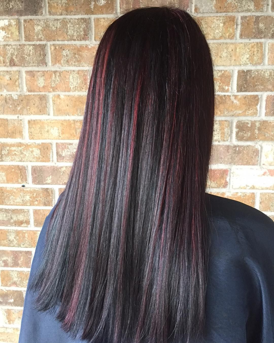 Long Classic Hair With Burgundy Babylights Dark Brunette Balayage Hair Red Highlights In Brown Hair Straight Hair Highlights