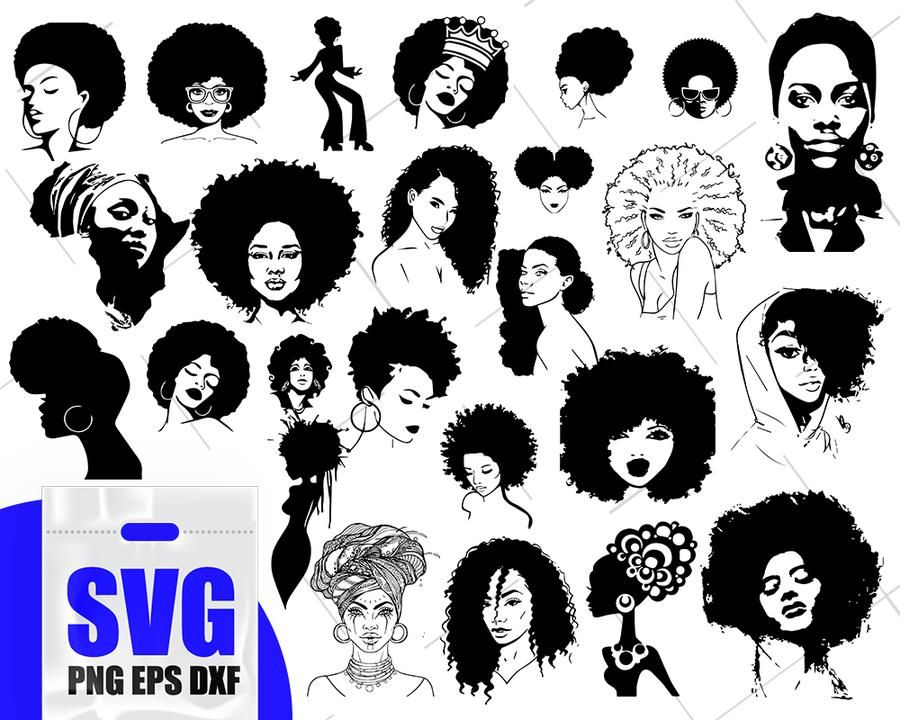 Afro Woman Svg Black Woman Svg Afro Girl Svg African American Svg Black Girl Svg Girl Silhouette Afro Girl Afro Women