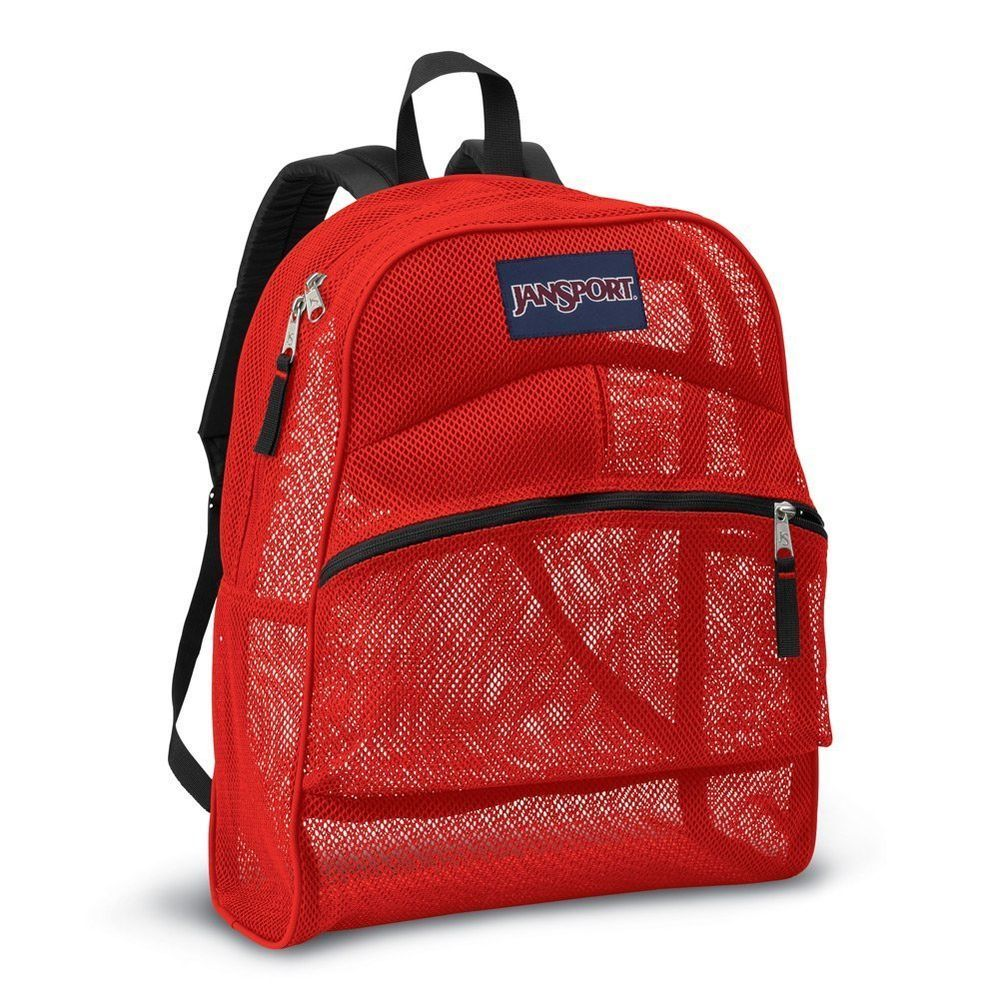 JanSport Mesh Backpack High Risk Red Polyester Mesh See-Through ...
