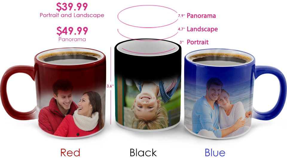 thermochromic color changing custom photo mug with your photography
