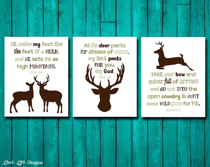 Hunting Nursery Decor Genesis 27 3 Psalm 42 1 18 33 Wall Art Verse Deer Hunter Country Archery