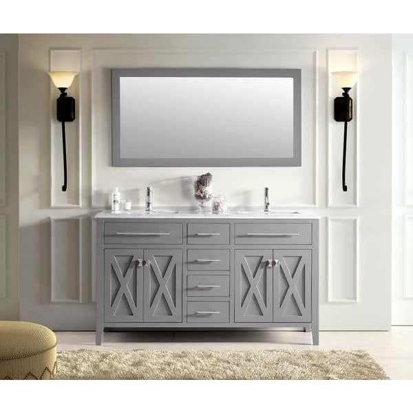 Rustic Style Quartz White Marble Top 60-inch Double Sink Bathroom