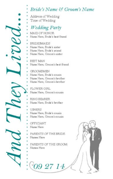 Wedding Programs DIY Double Sided Printable Instant Download TEMPLATE (happily ever after teal grey)