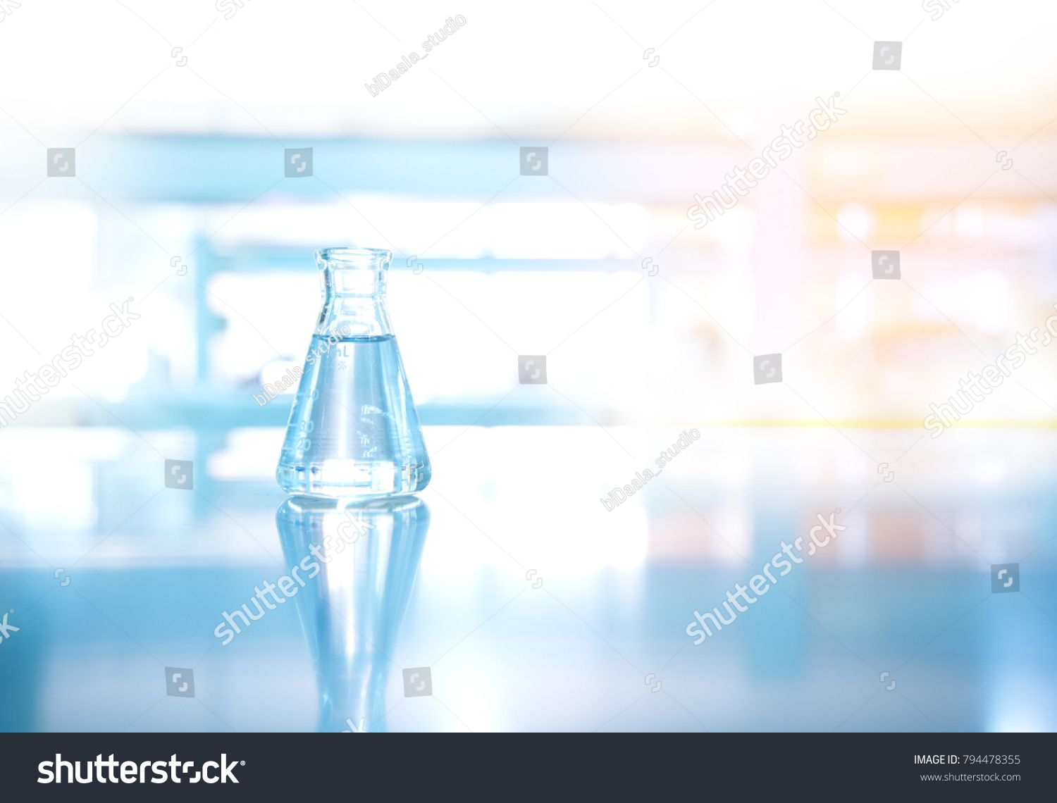 Single Clear Clean Glass Flask With Water In Blue Orange Light Science Technology Laboratory Background Ad Sponsored Glass Flask Water S Glass Flask Flask Light Orange