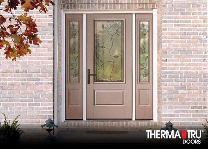 Therma Tru Smooth Star Fiberglass Door Painted Pink Shadow