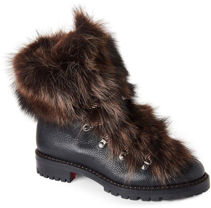 low priced 3676a c02fb Black Fanny Real Fur Combat Boots in 2019 | Shoegasm | Boots ...