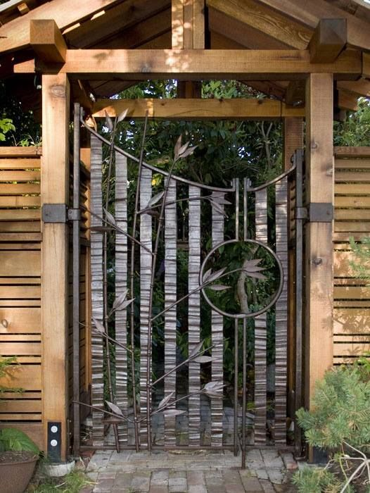 Rustic Beams With Wrought Iron Detail Garden Gates Garden