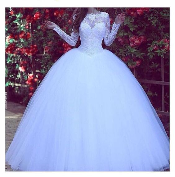 Princess Ball Gown White Tulle Skirt Lace Bodice Wedding Gowns ...