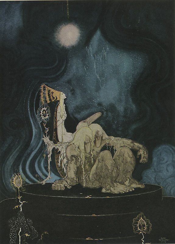 The Troll was quite willing, and before long he fell asleep and began snoring - Kay Nielsen, from The Three Princesses in the Blue Mountain