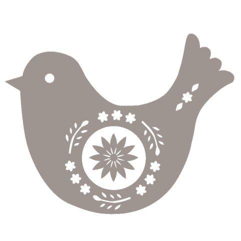 Christmas Bird Wood Mounted Stamp Christmas Stencils Scandinavian Folk Art Bird Crafts