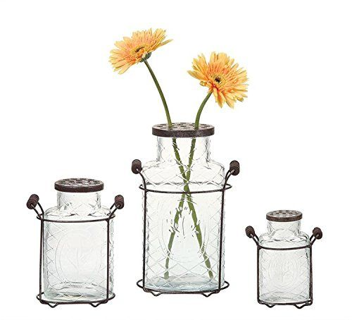 Fancy Clear Glass Vase Metal Flower Holder Lid W Holder Country Home