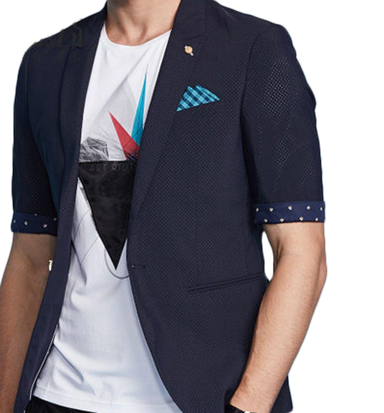 Amazing Navy Blue Polka Dot Trimmed Mens Luxury Short Sleeve ...