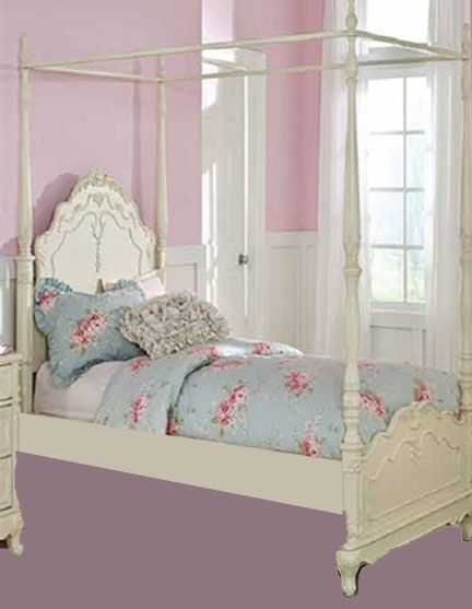 Home Elegance Cinderella Off White Twin Canopy Poster Bed Girls