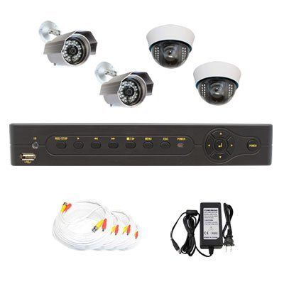 """Complete 4 Channel Network DVR (500G Hard Drive) Surveillance Video CCTV Security Camera System Package with (4) Pack of 1/3"""" Sony CCD Outdoor and Indoor Security Camera by GW Security. $469.00. Package Includes:      GW4104S DVR with 500G HDD;     2 x GW630A -1/3"""" SONY CCD Outdoor Camera;     2 x GW724A -1/3"""" SONY CCD Indoor Camera;     2 x GW100CAW: 100 feet pre-made cable BNC;     1 x GW60CAW: 60 feet pre-made cable BNC;     1 x GW25CAW: 25 feet pre-made cable BNC..."""
