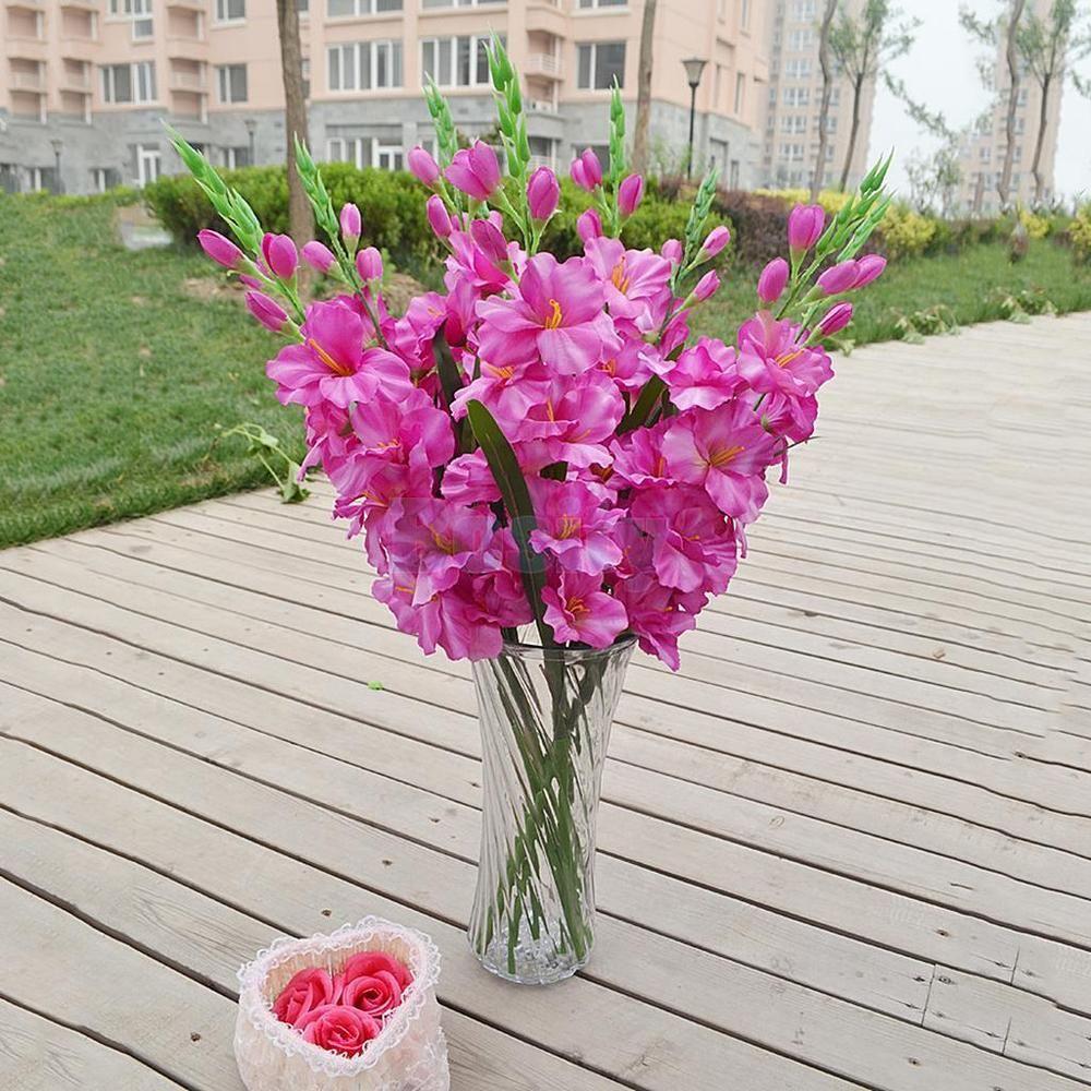 Artificial Gladioli Spray Stem Fake Silk Tropical Flower Gladiolus Purple Home Amp Garden Home Decor Floral Dec Gladiolus Flower Tropical Flowers Flowers