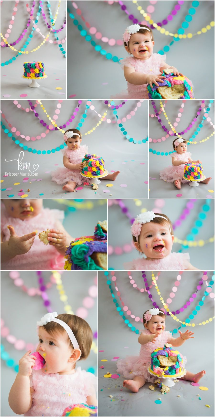 colorful cake smash session - teal, pink, yellow, and purple - 1st birthday cake smash for baby's 1st birthday party