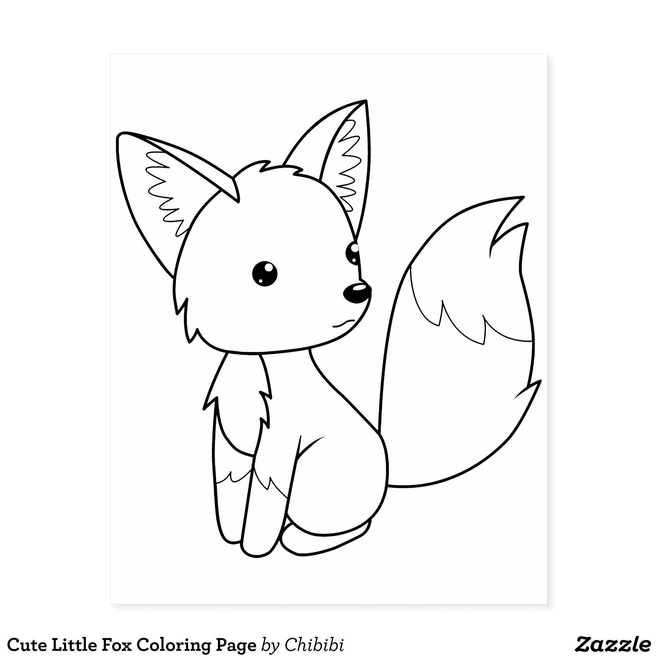 Cute Little Fox Coloring Page Rubber Stamp Zazzle Com Fox Coloring Page Fox Coloring Animal Coloring Pages