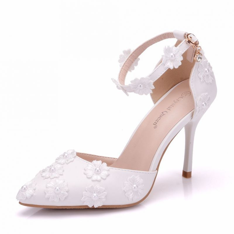Women High Heels Sandals White Lace Pearls Wedding Shoes Pointed Toe Bridal S...