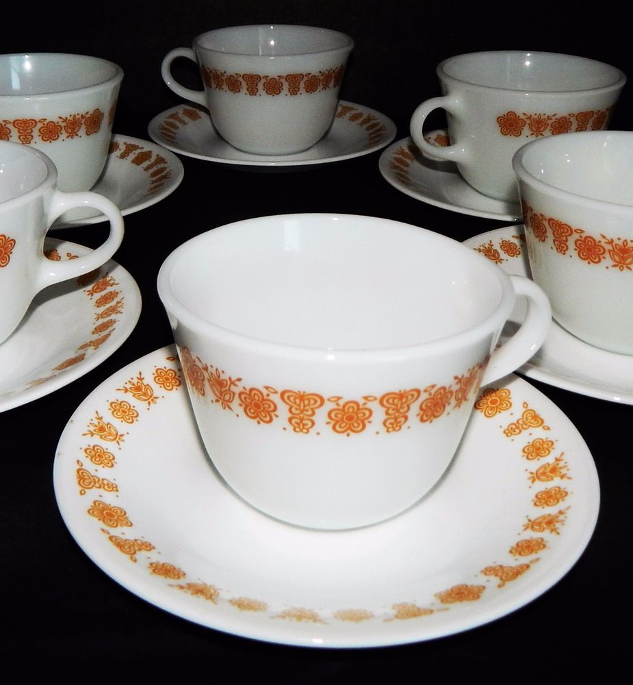 CORELLE CORNINGWARE BUTTERFLY GOLD Flower Pattern 6 White CUP MUGS 6 ...