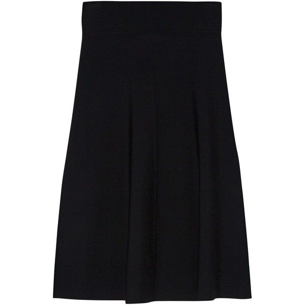 Gerard Darel Bristol Midi Crepe Skirt, Black (€125) ❤ liked on Polyvore featuring skirts, mid calf black skirt, midi skirt, flared midi skirt, crepe skirt and pleated skirt