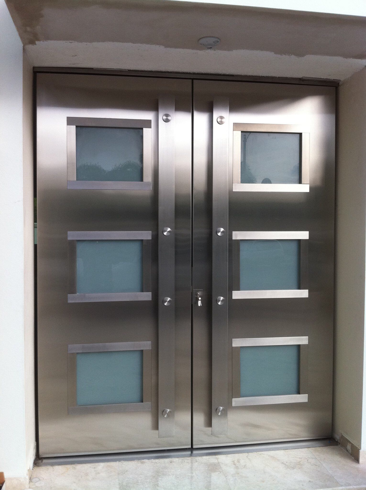 stainles steel entry door - Modern Exterior Metal Doors