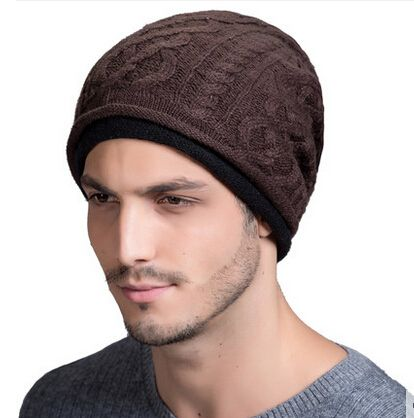 399a1837d91 Winter ear protection knit beanie hat for men fleece