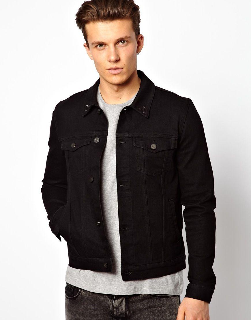 75 Asos Denim Jacket In Skinny Fit With Studded Collar Black Denim Jacket Men Black Denim Jacket Outfit Black Denim Jacket
