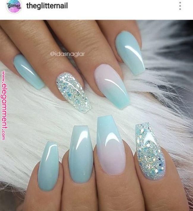 Midnight Blue Med Blatt Glitter With Images Nail Designs