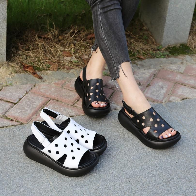 Leather Wedges Simple Casual Womens Sandals