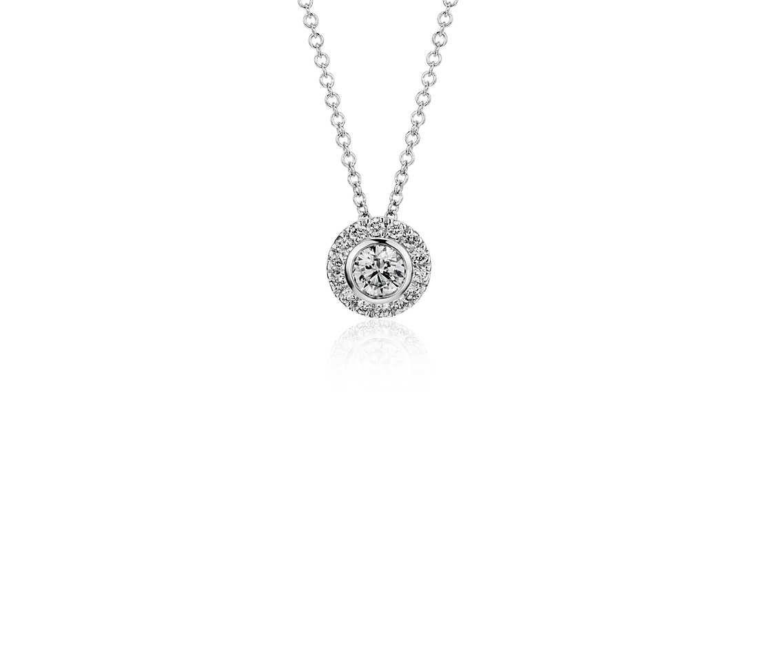 Round diamond bezel set halo pendant in 14k white gold 12 ct tw diamond mozeypictures Choice Image