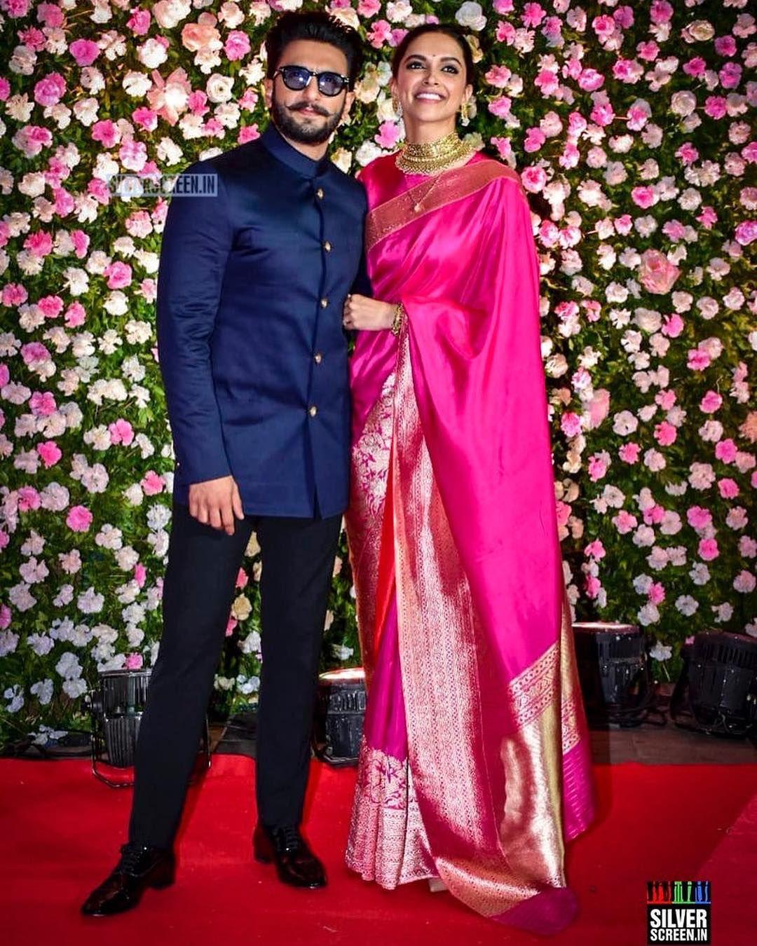 Wowza Deepikapadukone With Her Husband Ranveersingh At The Kapilsharma S Recep Wedding Dresses Men Indian Indian Reception Outfit Indian Sari Dress