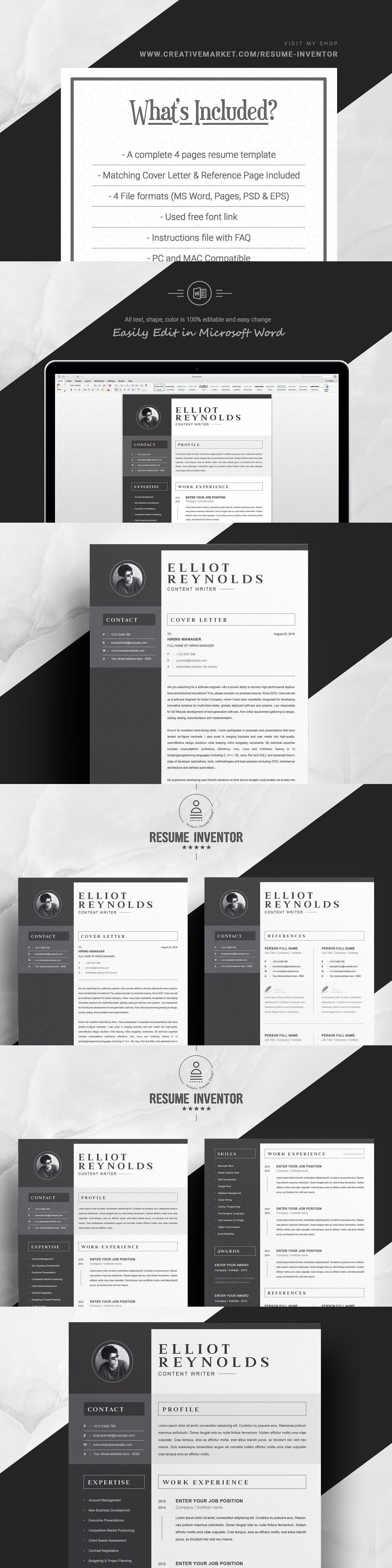 Professional Word Resume/CV Modern resume template