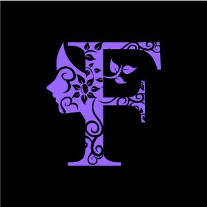 Graphic Design of Flower Clipart - Purple Alphabet F with Black Background