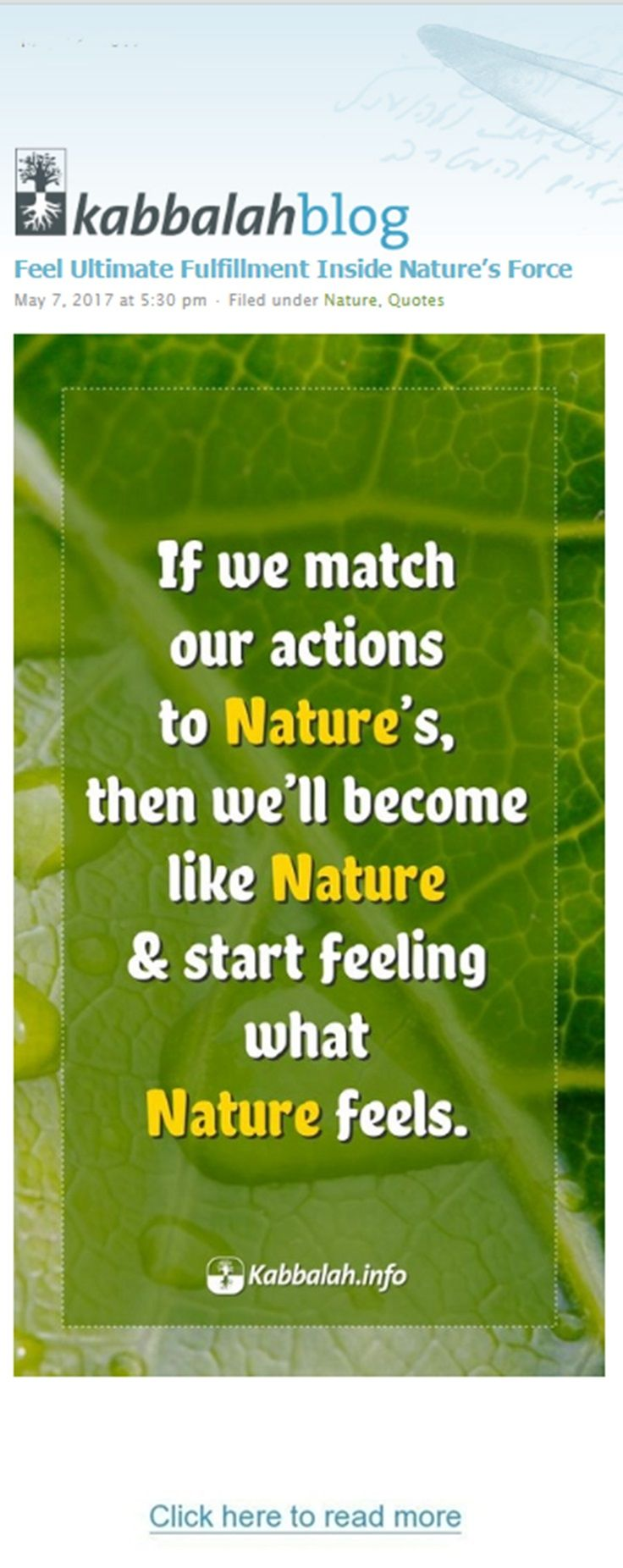 Feel Ultimate Fulfillment Inside Nature's Force If we match our actions to Nature's, then we'll become like Nature & start feeling what Nature feels #quoteskabbalahinfo #quote #kabbalah #nature http://www.kabbalahblog.info/