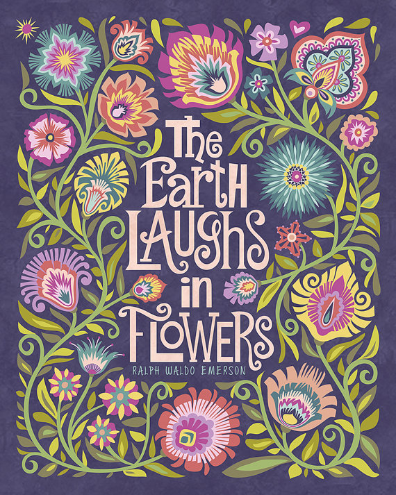 Wycinanki Floral Botanical Folk Art Print Quote The Earth Laughs ...