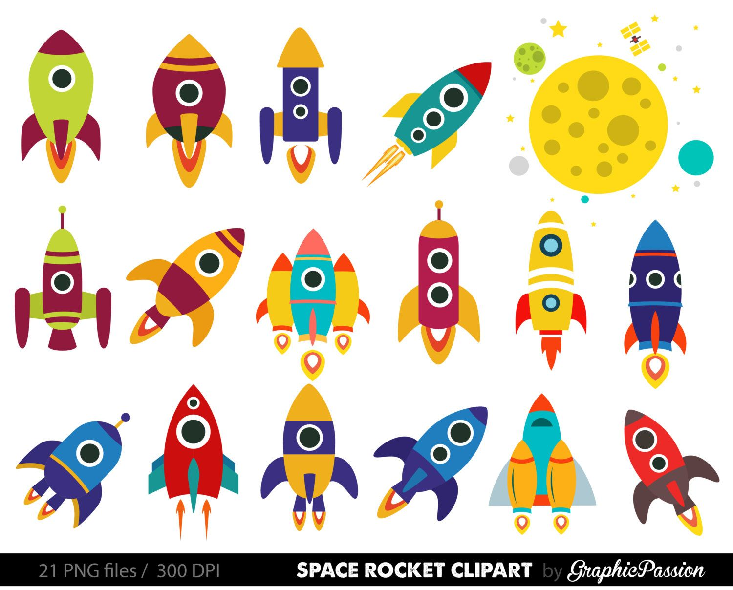hight resolution of retro rockets clip art clipart spaceship by graphicpassion on etsy