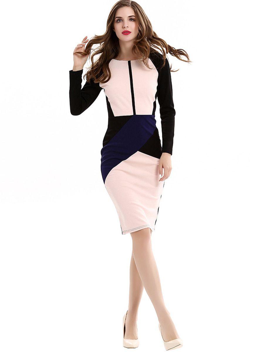 Color Block Long Sleeve Womenus Bodycon Dress Bodycon dress Color