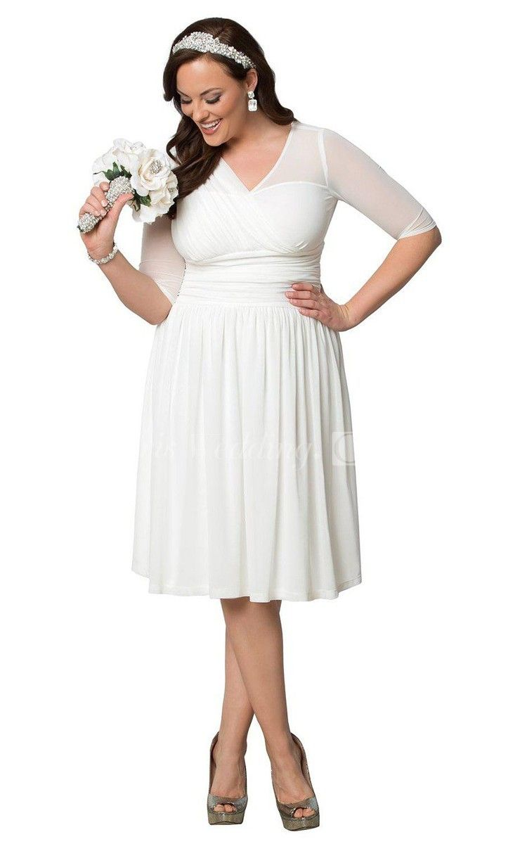 Plus Size Knee Length Gown With Half Sleeves And Ruffles Short Lace Wedding Dress Knee Length Wedding Dress Informal Wedding Dresses [ 1200 x 750 Pixel ]