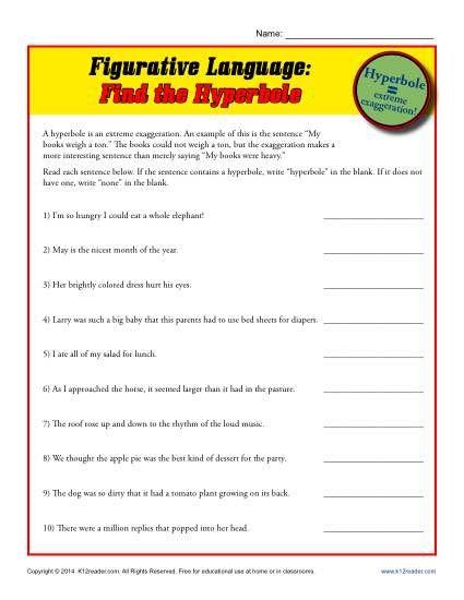 Figurative Language Find The Hyperbole Printable Worksheets Figurative Language Worksheet Figurative Language Printable Figurative Language Free printable figurative language worksheets