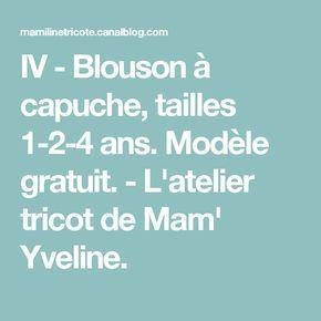 IV - Blouson à capuche, tailles 1-2-4 ans. Modèle gratuit. - L ... cd1034f7902