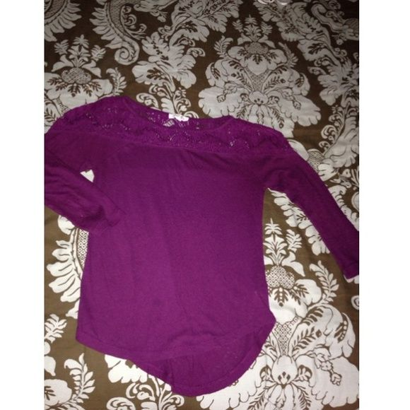 Shirt with lace Perfect condition. It's more of a matte dark purple in person. Aeropostale Tops