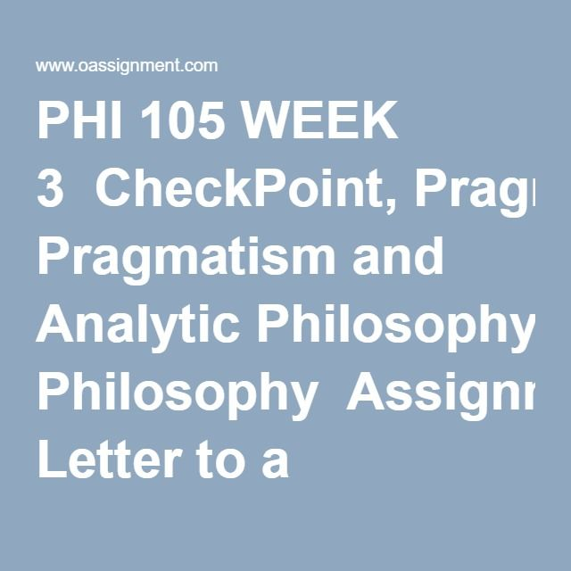 Phi  Week  Checkpoint Pragmatism And Analytic Philosophy