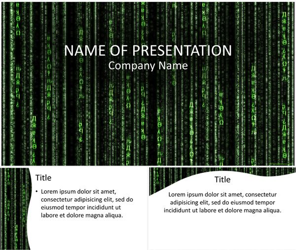 Matrix Code PowerPoint Template Powerpoint templates in 2019