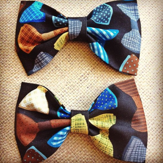 Bowtie print handmade fabric bow tie or hair by Bowliciousdivas, $5.00