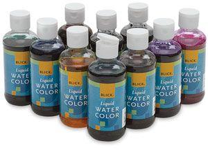 Blick Liquid Watercolors Set Of 10 Assorted Colors 8 Oz Bottles