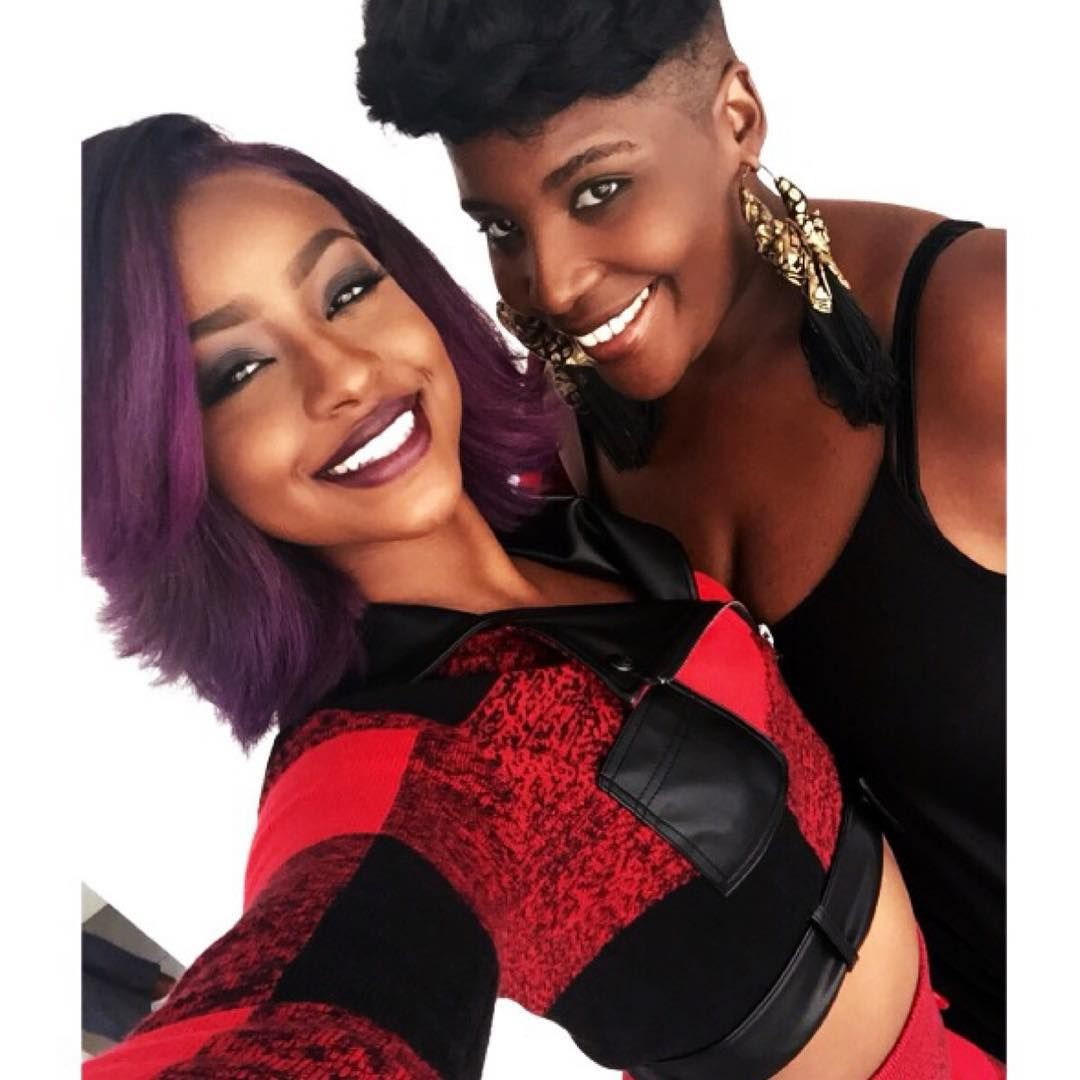 "Tish Celestine pka Ms.Tish on Instagram: ""Yesterday On Set Selfies with my #PurpleUnicorn @justineskye #UnicornNation #BTS #HairByMsTish #PurpleHair #Bob #CustomColor #BeautyIsHerName #LoveHerDown #BrownGirls #EmotionallyUnavailable #LaVanteGardeHair #LabelleBoutique @labelle_nyc #Hair by @infamousmstish #Makeup by @joannasimkin"""