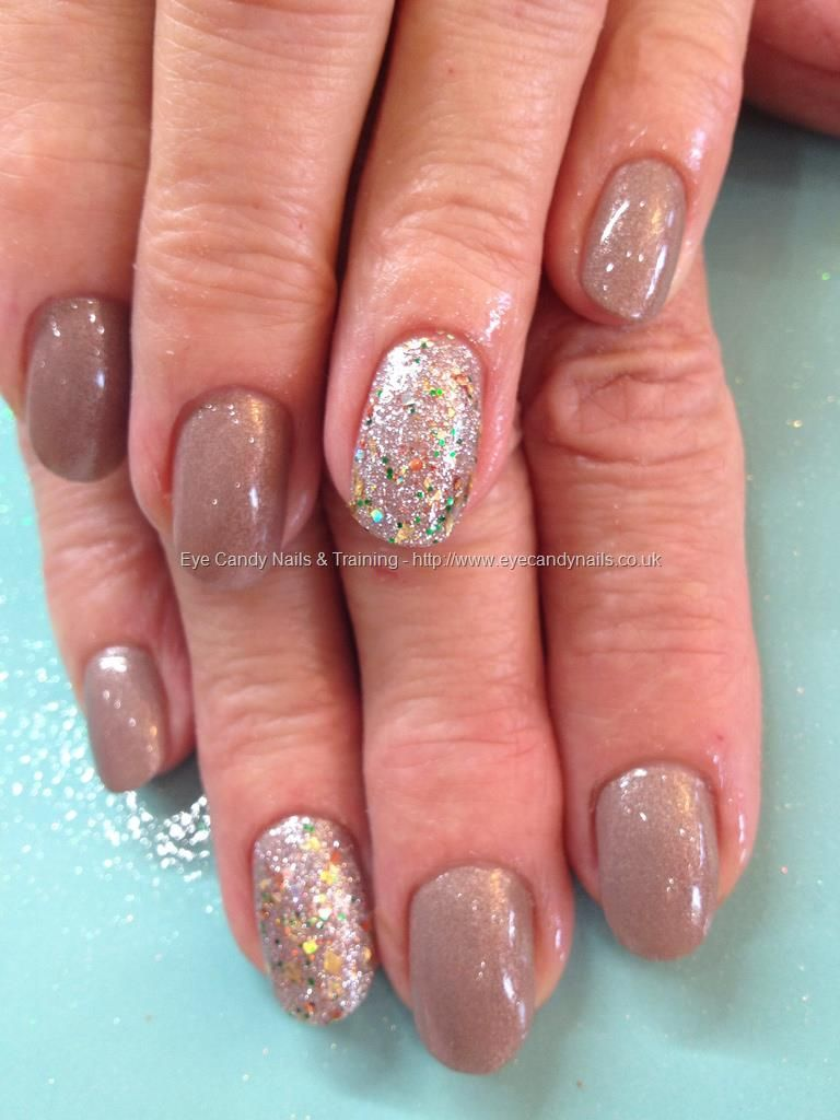 Nude polish with gold and silver glitter ring finger | NAIL ME ...