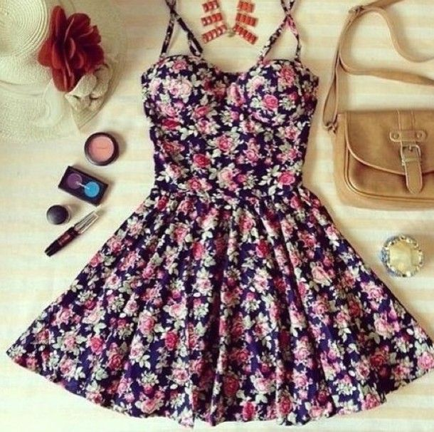 Dress | Summer, Flower and Spaghetti straps