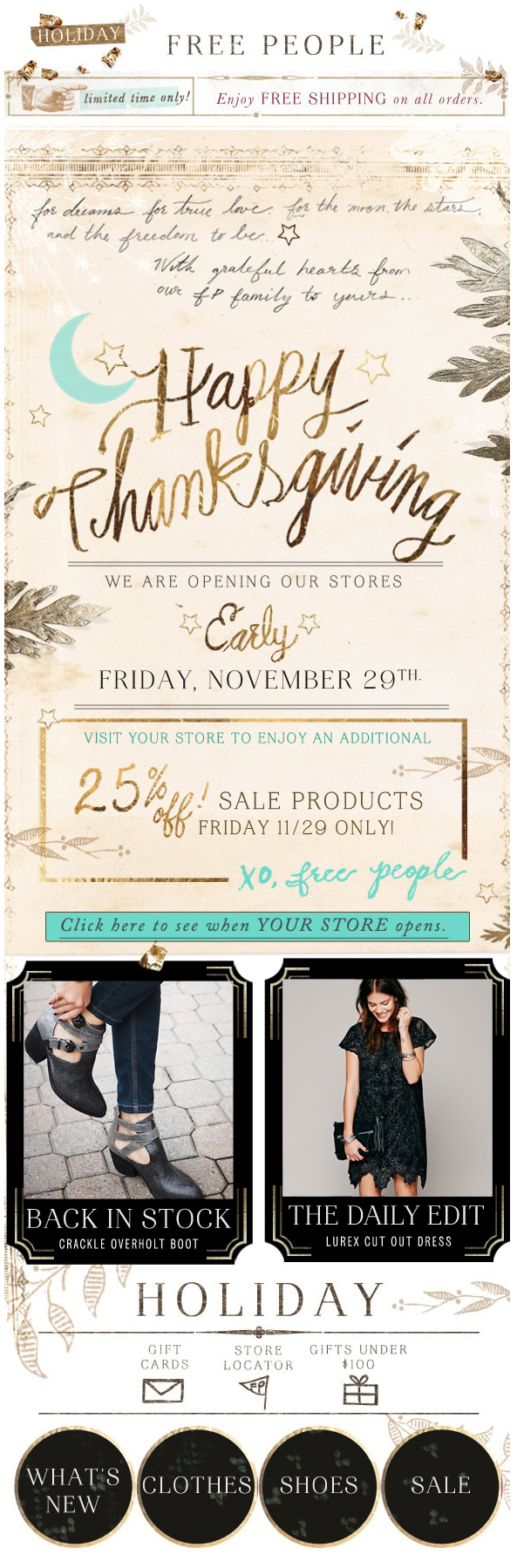 Free People Happy Thanksgiving Promo Email Design Inspiration Email Design Website Banner