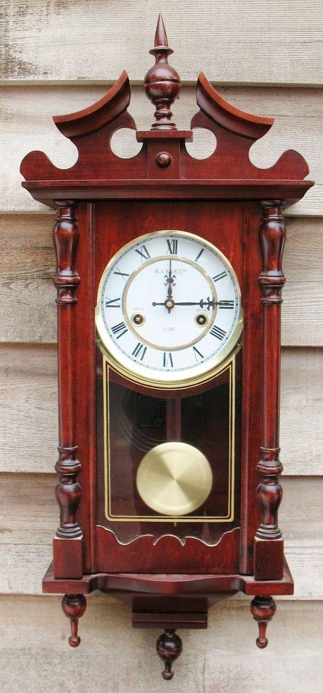 Ornate Kassel 31 Day Cherry Wood Wall Clock Pendulum Chime Wind Up W Key Kassel Traditional Nastennye Chasy Chasy